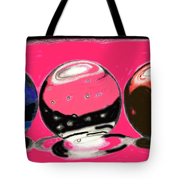 Tote Bag featuring the drawing Marble Planets by Mary Bedy