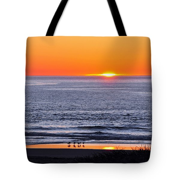 Tote Bag featuring the photograph Marbled Godwits Reflecting A Sunset by Susan Wiedmann