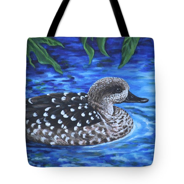 Tote Bag featuring the painting Marbled Teal Duck On The Water by Penny Birch-Williams