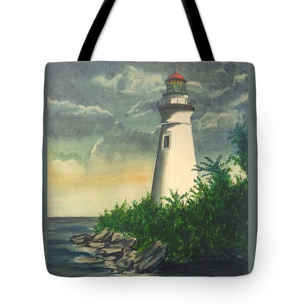 Marblehead Light On Lake Erie Tote Bag by Frank Hunter