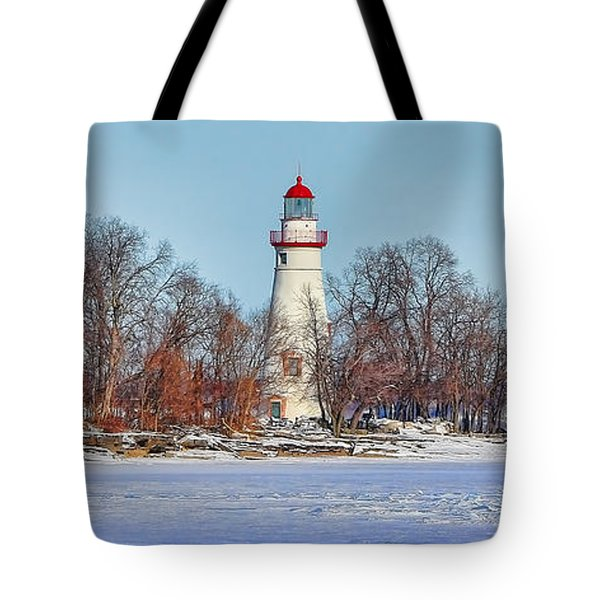 Marblehead Lighthouse In Winter Tote Bag