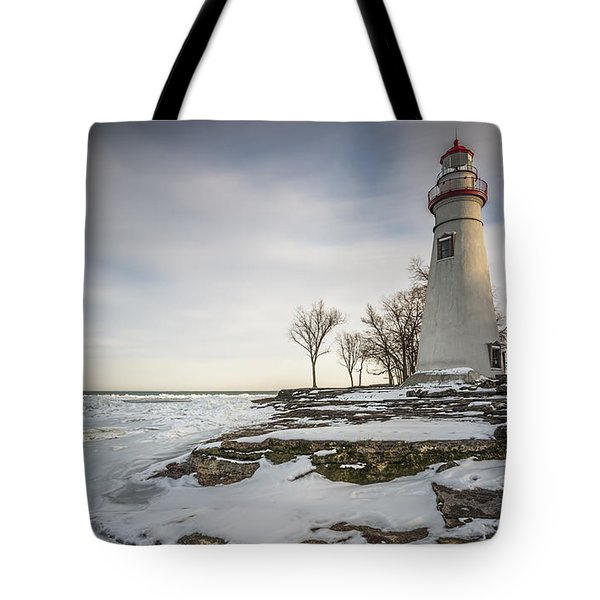 Marblehead Lighthouse Winter Tote Bag by James Dean