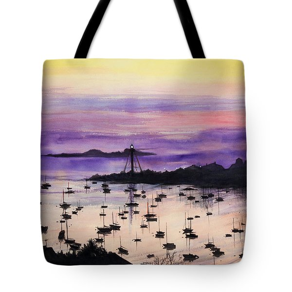 Marblehead Sunset Watercolor Tote Bag by Michelle Wiarda