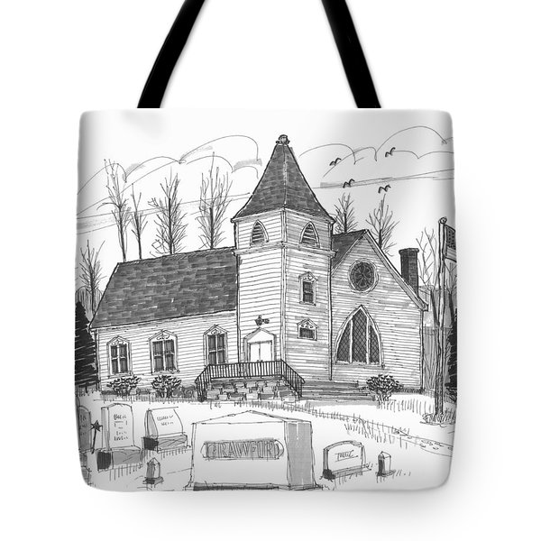 Tote Bag featuring the drawing Marbletown Church by Richard Wambach