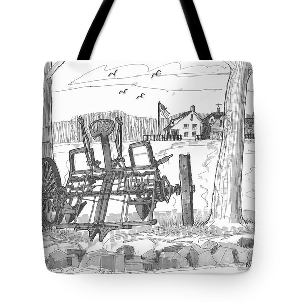 Tote Bag featuring the drawing Marbletown Farm Equipment by Richard Wambach