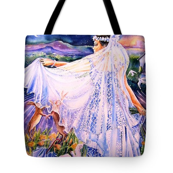 Tote Bag featuring the painting March Bride With Boxing Hares  by Trudi Doyle