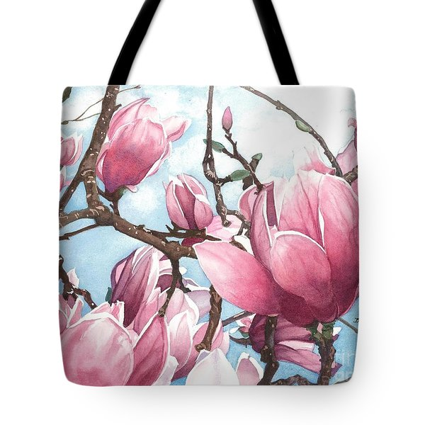 Tote Bag featuring the painting March Magnolia by Barbara Jewell