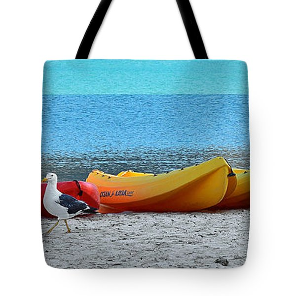 Tote Bag featuring the photograph March Of The Seagull by Christine Till