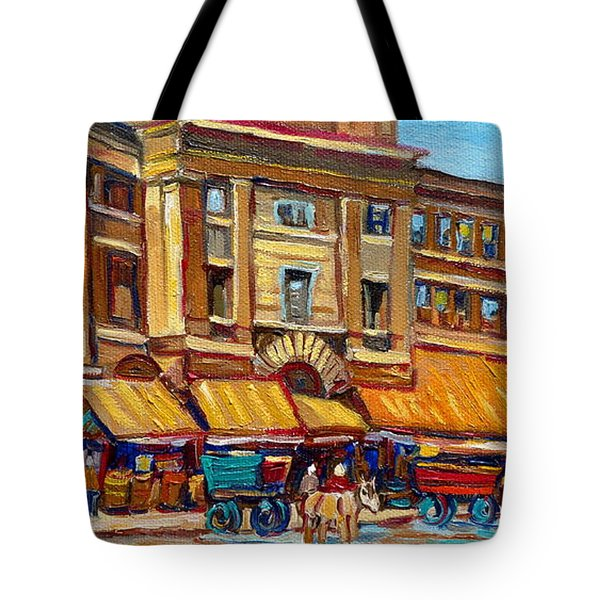 Marche Bonsecours Old Montreal Tote Bag by Carole Spandau