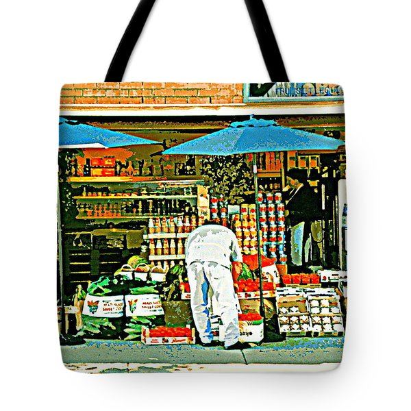 Marche Fruits Et Legumes Fruiterie And Convenience Store Vintage Montreal City Scene Tote Bag by Carole Spandau