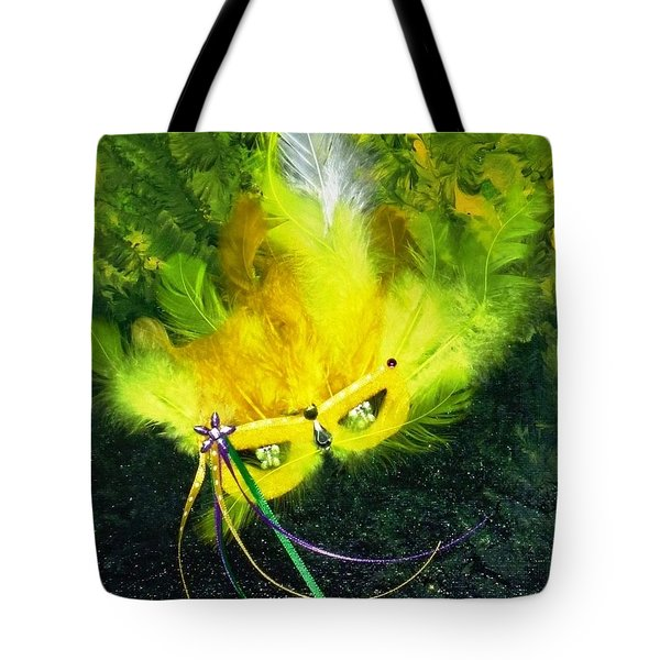 Tote Bag featuring the painting Mardi Gras On Green by Alys Caviness-Gober