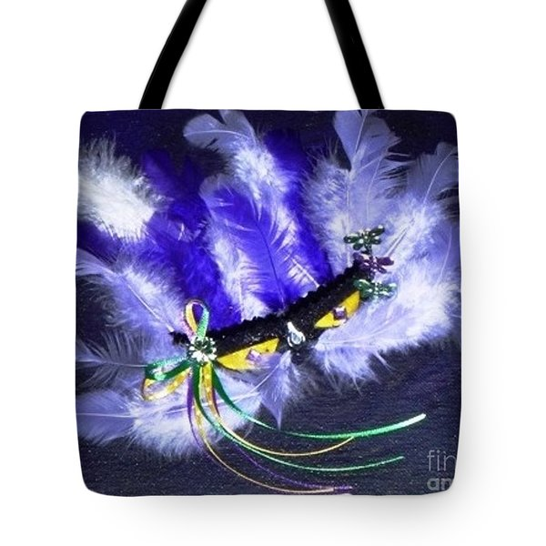 Tote Bag featuring the painting Mardi Gras On Purple by Alys Caviness-Gober