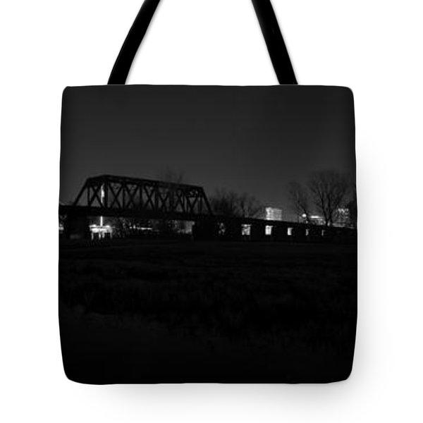 Margaret Hunt Hill Bridge Dallas Skyline Black And White Tote Bag by Jonathan Davison