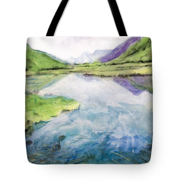Tote Bag featuring the painting Margo's Mountains by Ron Richard Baviello