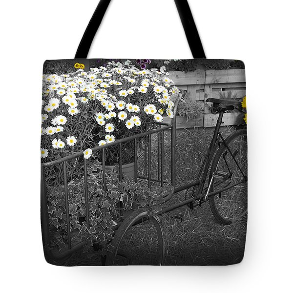 Marguerites And Bicycle Tote Bag by Gina Dsgn