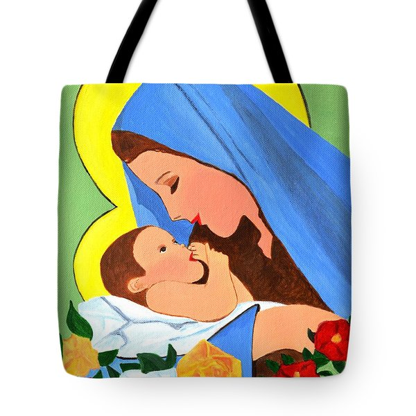 Tote Bag featuring the painting Maria And Baby Jesus by Magdalena Frohnsdorff