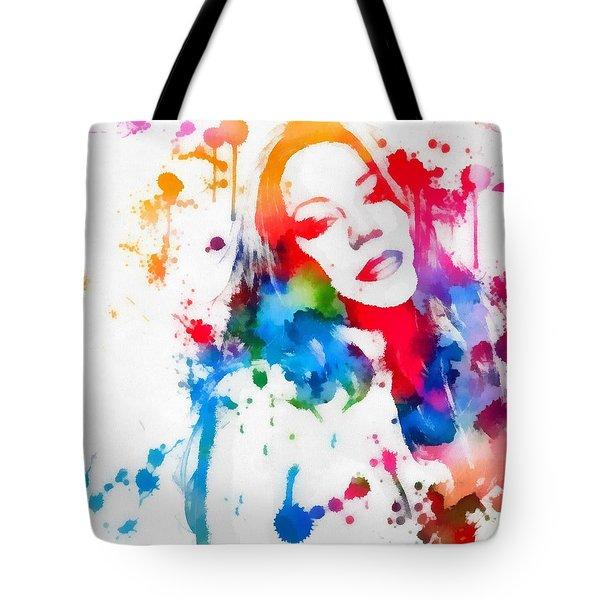 Mariah Carey Watercolor Paint Splatter Tote Bag