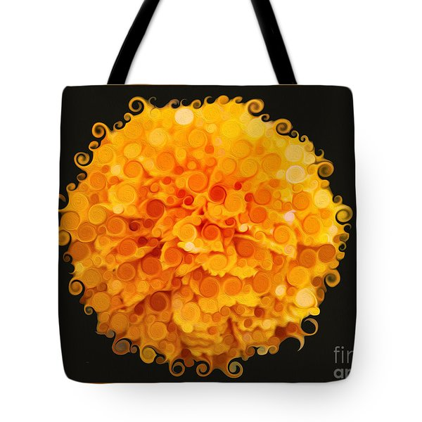 Marigold Magic Abstract Flower Art Tote Bag