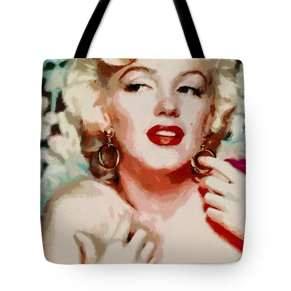 Marilyn Monroe In Red Dress Tote Bag by Georgi Dimitrov