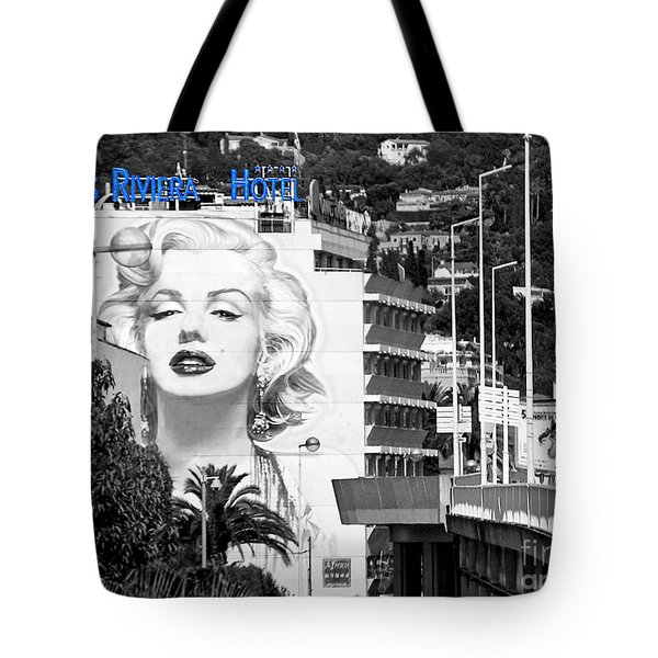 Tote Bag featuring the photograph Marilyn In Cannes by Jennie Breeze