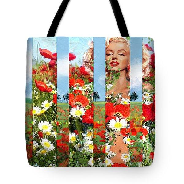 Marilyn In Poppies 1 Tote Bag
