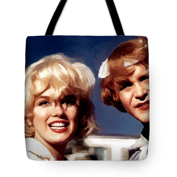 Marilyn Monroe And Jack Lemon Portrait Tote Bag
