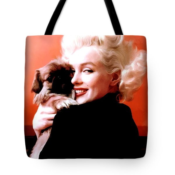 Marilyn Monroe And Pekingese Portrait Tote Bag
