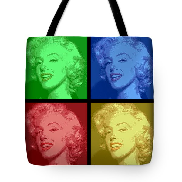 Marilyn Monroe Colored Frame Pop Art Tote Bag by Daniel Hagerman