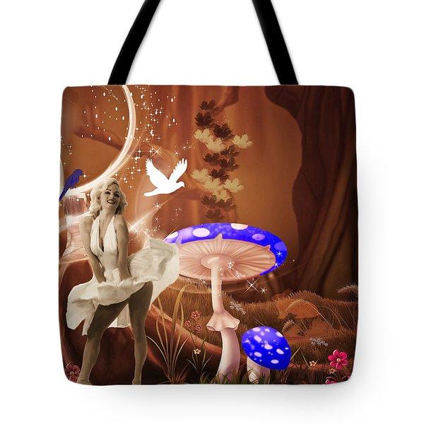 Marilyn Monroe In Fantasy Land Tote Bag by EricaMaxine  Price