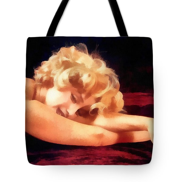 Tote Bag featuring the painting Dreaming Marilyn by Maciek Froncisz