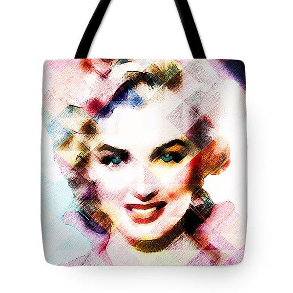 Tote Bag featuring the digital art Marilyn Monroe Pastel by Ericamaxine Price