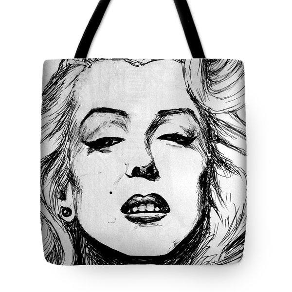 Tote Bag featuring the painting Marilyn Monroe by Salman Ravish