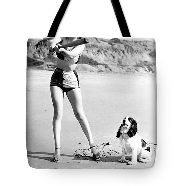 Marilyn Playing Baseball At The Beach Tote Bag by R Muirhead Art