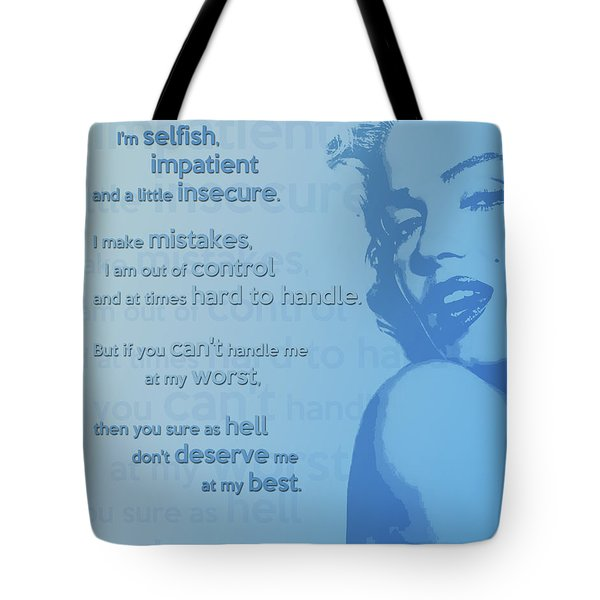 Marilyn Quote Tote Bag by Gina Dsgn