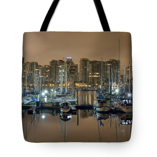 Marina Along Stanley Park In Vancouver Bc Tote Bag by David Gn