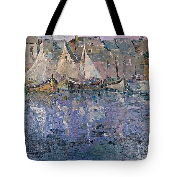 Tote Bag featuring the painting Marina by AmaS Art