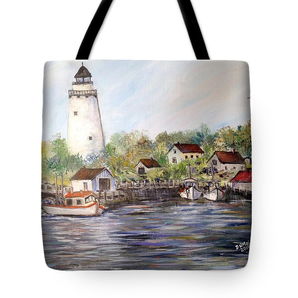 Marina At The Lighthouse Tote Bag