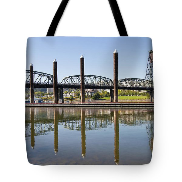 Tote Bag featuring the photograph Marina By Willamette River In Portland Oregon by JPLDesigns