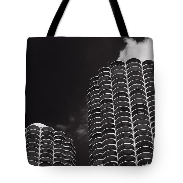 Marina City Morning B W Tote Bag by Steve Gadomski