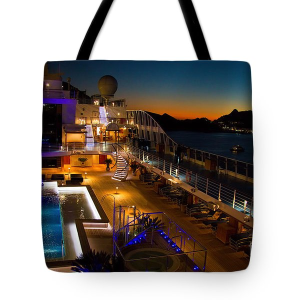 Marina Cruise Ship Pool Deck At Dusk Tote Bag