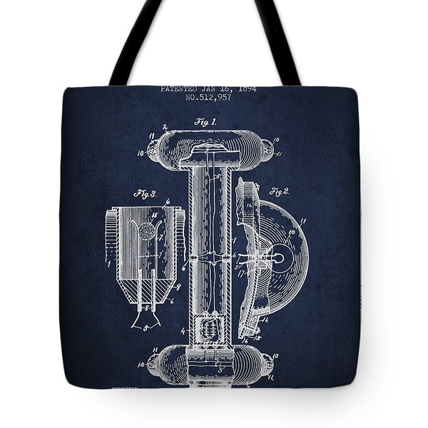 Marine Lifebuoy Patent From 1894 - Navy Blue Tote Bag