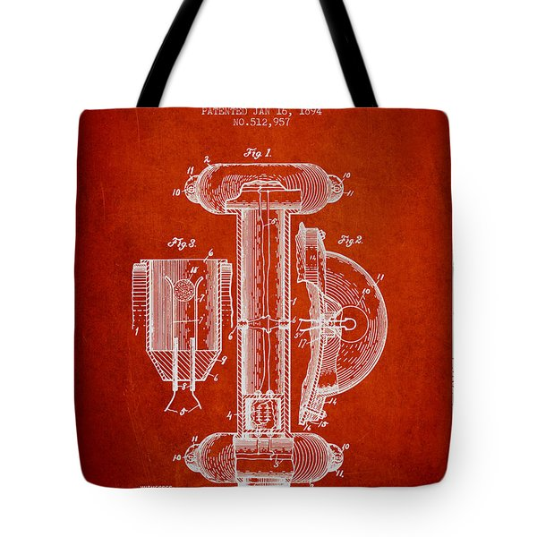 Marine Lifebuoy Patent From 1894 - Red Tote Bag