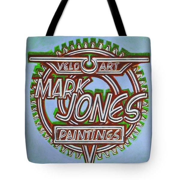 Tote Bag featuring the painting Mark Jones Velo Art Painting Blue by Mark Howard Jones