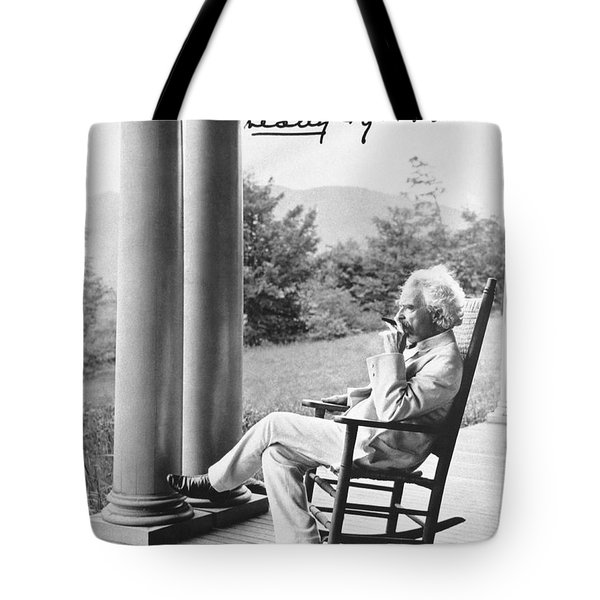 Mark Twain On A Porch Tote Bag