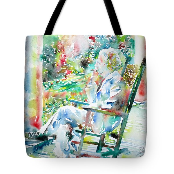 Mark Twain Sitting And Smoking A Cigar - Watercolor Portrait Tote Bag by Fabrizio Cassetta