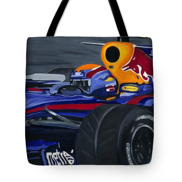Mark Webber R B R Charging 2008  Tote Bag