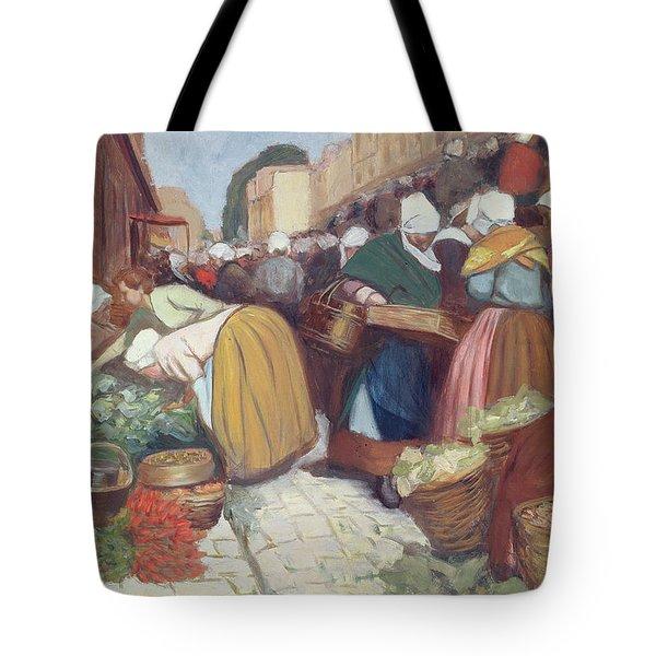 Market In Brest Tote Bag by Fernand Piet
