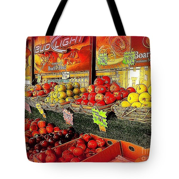 Apples And Plums In Red - Outdoor Markets Of New York City Tote Bag by Miriam Danar