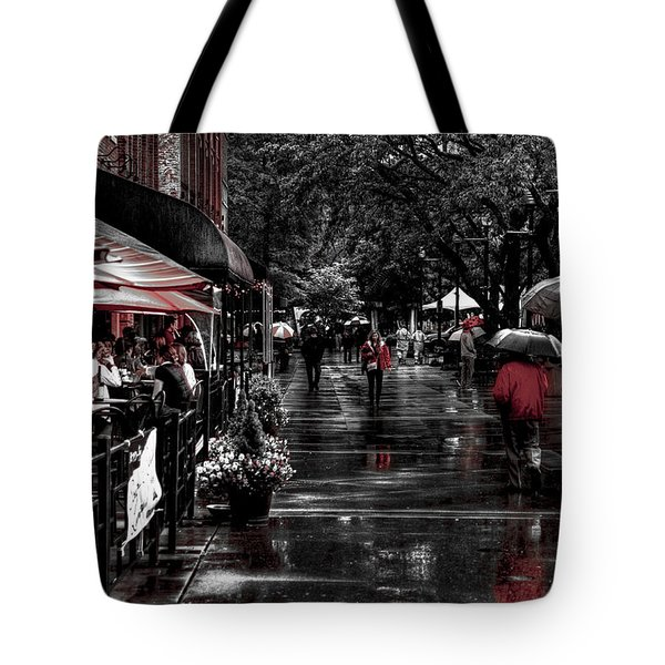Market Square Shoppers - Knoxville Tennessee Tote Bag by David Patterson
