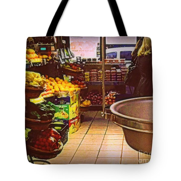 Tote Bag featuring the photograph Market With Bronze Scale by Miriam Danar